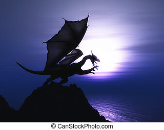 3D fantasy dragon against sunset ocean - 3D render of a ...