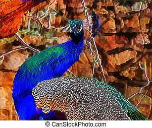 3D Fantasy Illustration of a Peacock