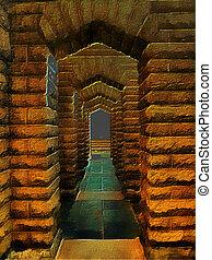 3D Fantasy Illustration of Stone Archway