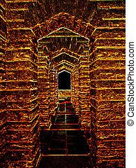 3D Fantasy Red Stone Archway Illustration