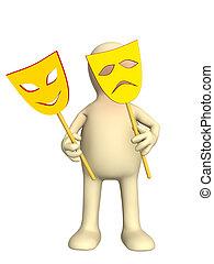 3d, fantoche, com, dois, máscaras, em, mãos