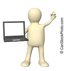 3d, fantoche, com, laptop, em, mão