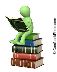 3d, fantoche, leitura, a, livro