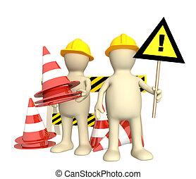 3d, fantoches, com, emergência, cones
