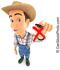 3d farmer drawing red cross check mark