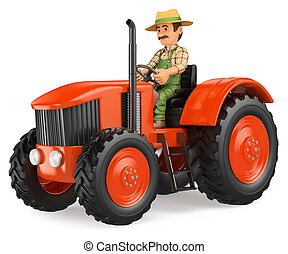 3D Farmer driving a tractor - 3d working people...