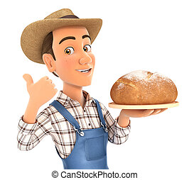 3d farmer holding bread with thumb up