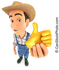 3d farmer holding golden thumb up icon