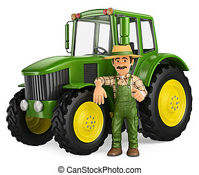 3D Farmer leaning on tractor with thumb up