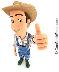 3d farmer positive pose with thumb up