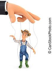 3d farmer puppet concept
