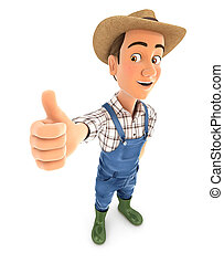 3d farmer standing with thumb up