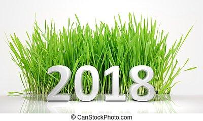 3d, fazendo, de, 2018, com, grama verde