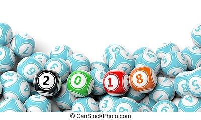 3d, fazendo, de, afortunado, coloridos, bolas, com, 2018, isolado, branco