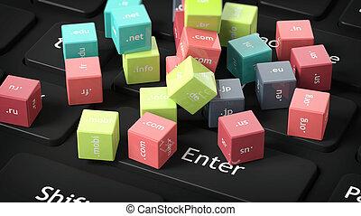 3d, fazendo, de, cubos, com, domínio, nomes, ligado, pretas, teclado computador