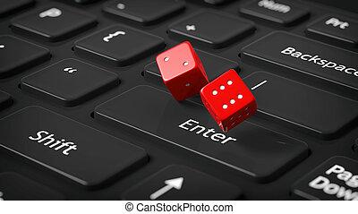 3d, fazendo, de, dois, vermelho, dices, ligado, pretas, computer's, teclado