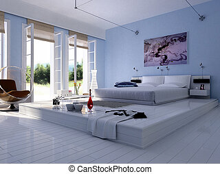 3d, fazendo, de, interior lar