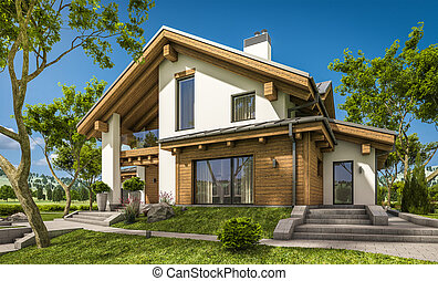 estilo chal cozy casa modernos fazendo 3d casa. Black Bedroom Furniture Sets. Home Design Ideas