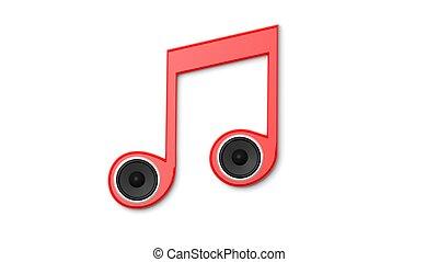 3d, fazendo, de, nota musical, com, oradores, isolado, ligado, white., conceptual.