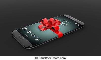 3d, fazendo, de, smartphone, com, fita vermelha, ligado, experiência preta