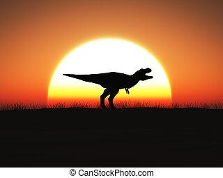 3d, fazendo, de, um, t., rex, dinossauro, ficar, contra, um, sol grande, em, sunset.
