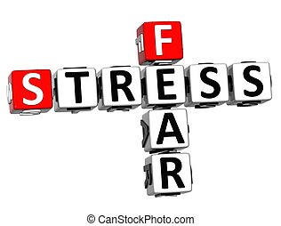 3D Fear Stress Crossword on white background