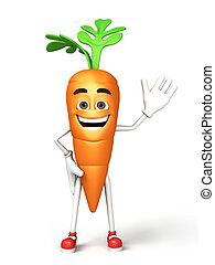 3d, felice, cartone animato, carota