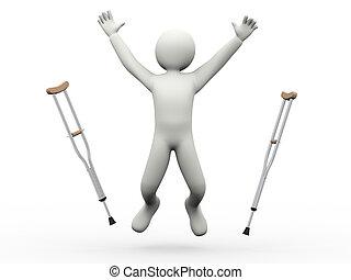 3d, feliz, hombre saltar, lanzamiento, muletas
