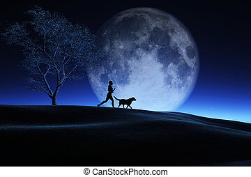3D female and her dog jogging in a night landscape with moon in sky