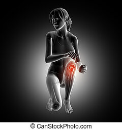 3D female figure kneeling down with knee highlighted
