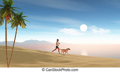 3D female jogging on the beach with her dog