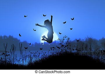 3D female jumping in a sunset landscape with butterflies