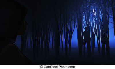 3D female looking at creature in foggy forest - 3D render of...