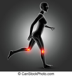 3D female medical figure in running pose with knee bones highlighted