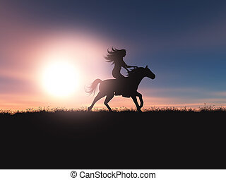 3D female riding her horse in a sunset landscape