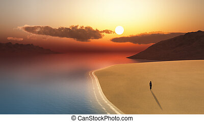 3D female walking on the beach