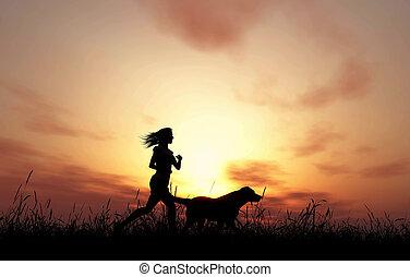 3d, femme, et, chien, jogging, à, coucher soleil