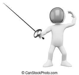 3D Fencer - Fencing. Rendered at high resolution on a white...