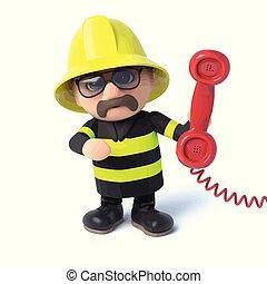 3d, feuerwehrmann, antworten, der, telefon