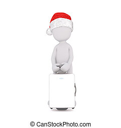 3D figure in Christmas hat holding suitcase