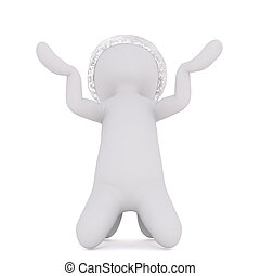 3D figure in hat with both hands up in the air