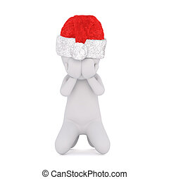 3D figure in red Santa hat