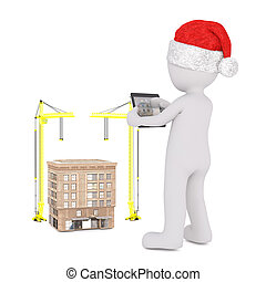 3D figure in Santa hat with building model