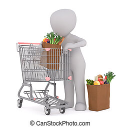 3d Figure Placing Grocery Bags in Shopping Cart