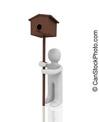 3d figure with birdhouse