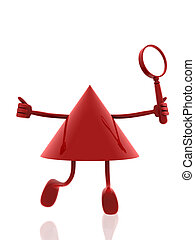 3d figure with magnifying glass
