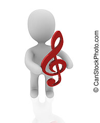 3d figure with musical note