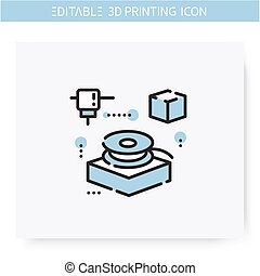 3d filament line icon. Filament spool. Thermoplastic 3d printing feedstock. Additive Manufacturing, fabber technology, prototyping industry. Isolated vector illustration. Editable stroke