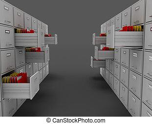 3d file cabinet . 3d rendered illustration