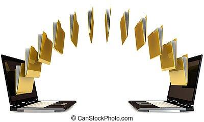 file sharing concept - 3d file sharing concept isolated on ...